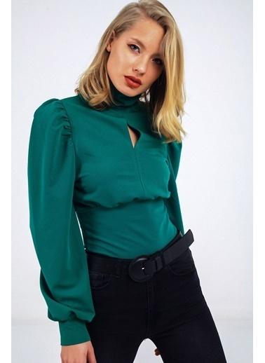 Emjey Önü Damla Balon Kol Bluz Yeşil